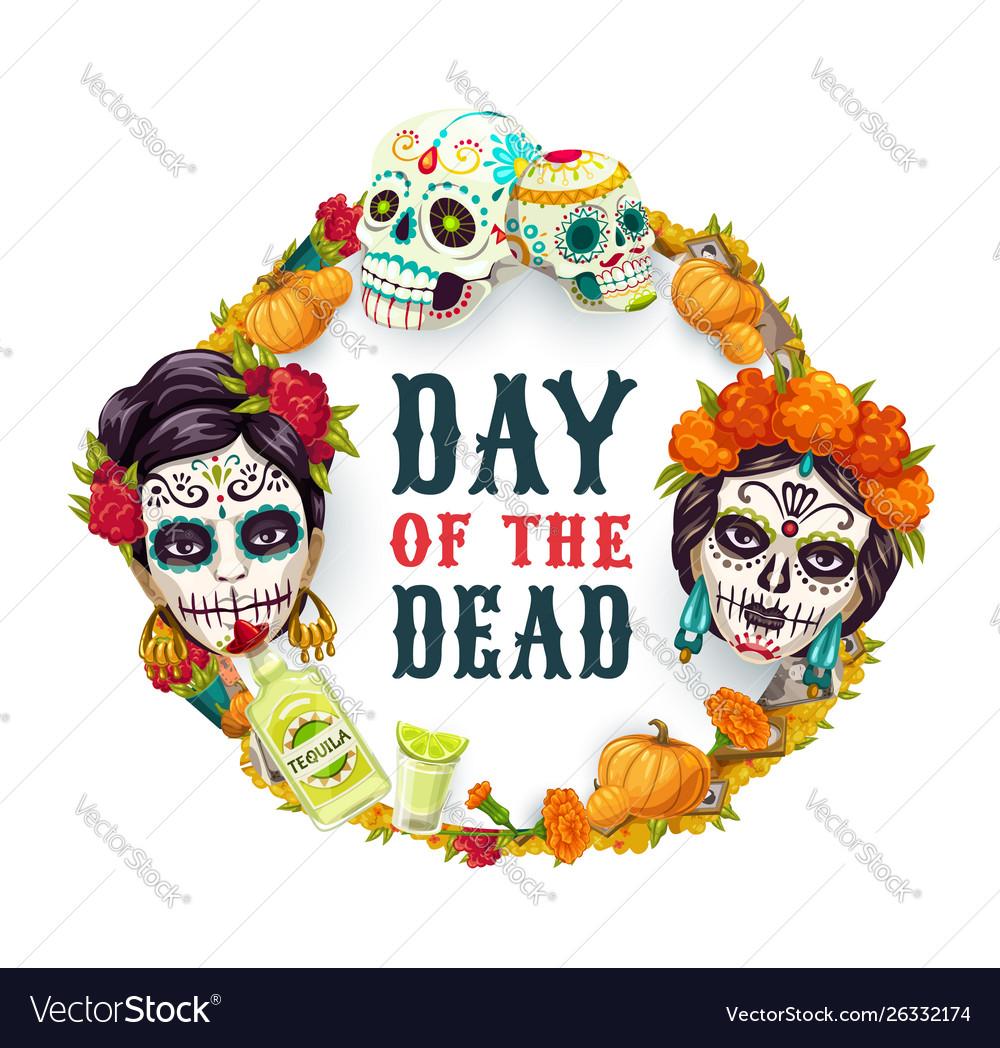 Day dead mexican catrina calavera woman skull
