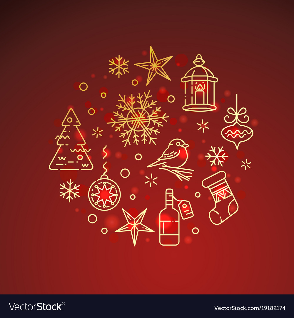 Flat golden christmas icons on red background