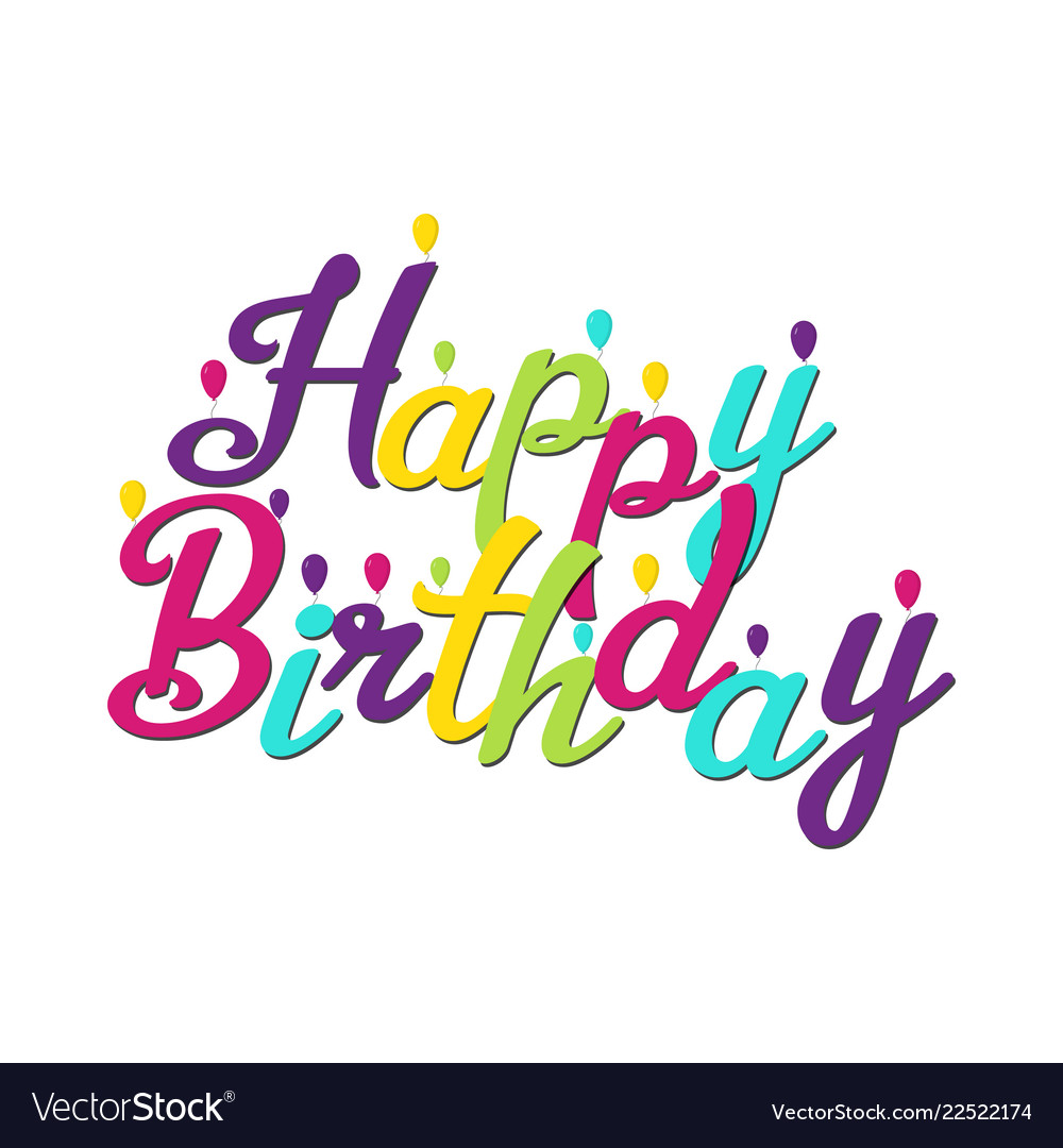 Happy birthday inscription with balloons