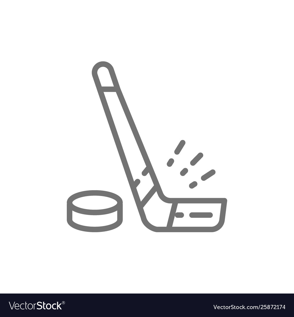 Hockey stick and puck line icon