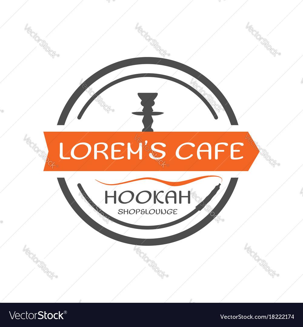 Hookah label badge vintage shisha round style