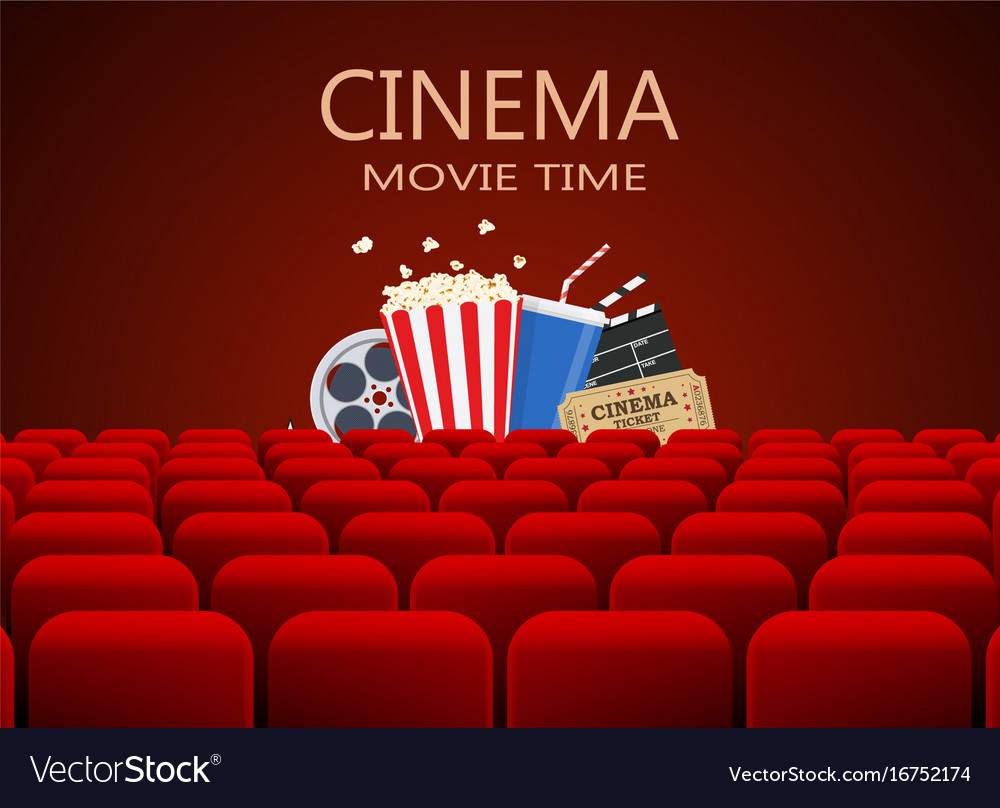 Movie theater with row of red seats