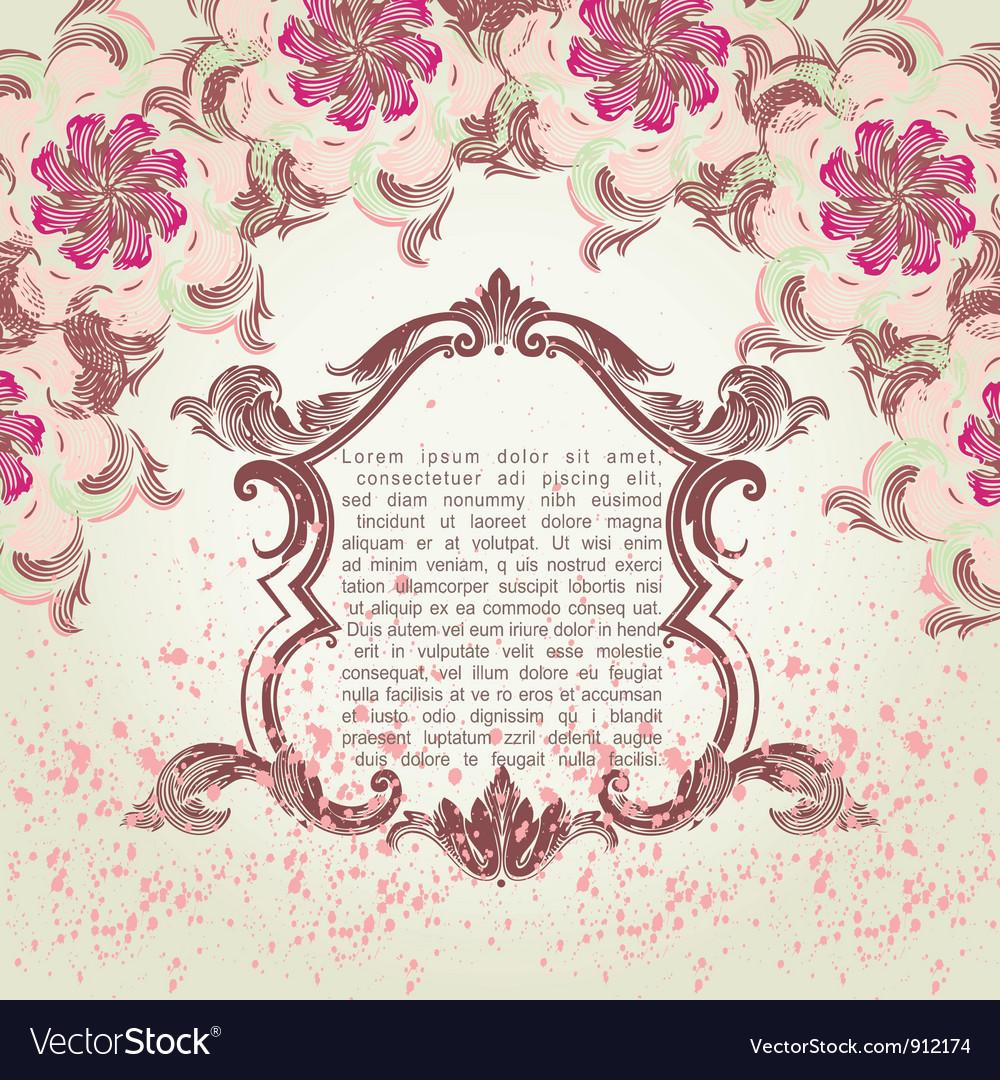 Ornate engraved vintage decorative frame wi vector image