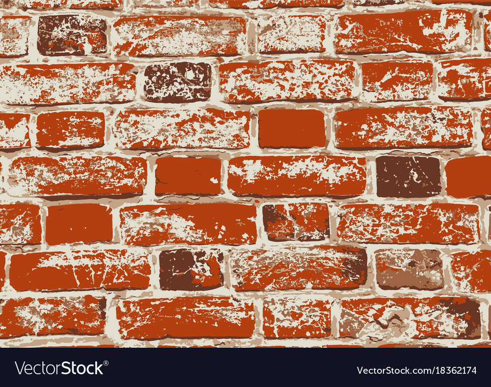Red old grunge brick wall