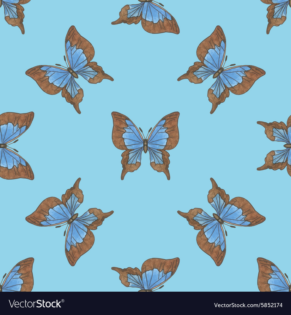 Seamless pattern with blue butterflies