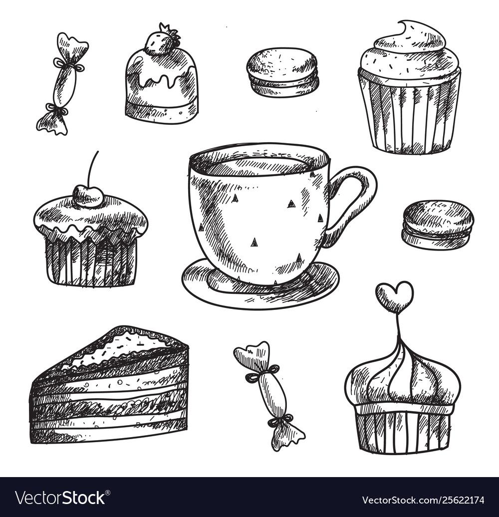 Set hand drawn dessert icons design