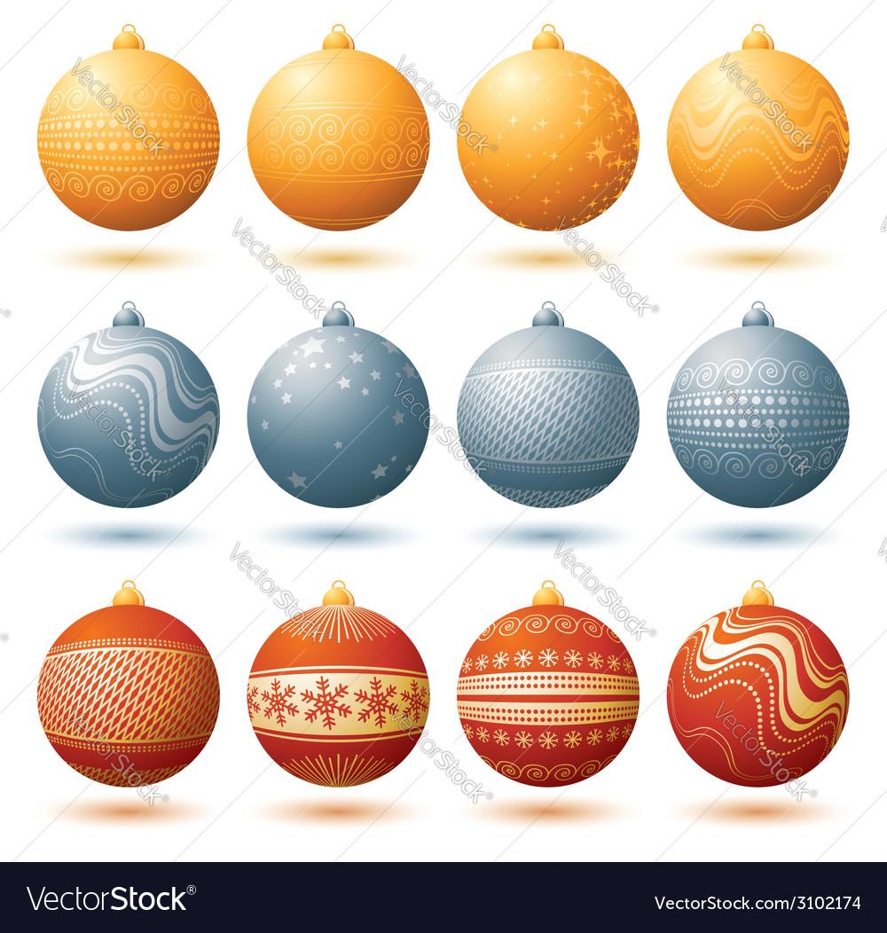 Twelve christmas ball over white background vector image