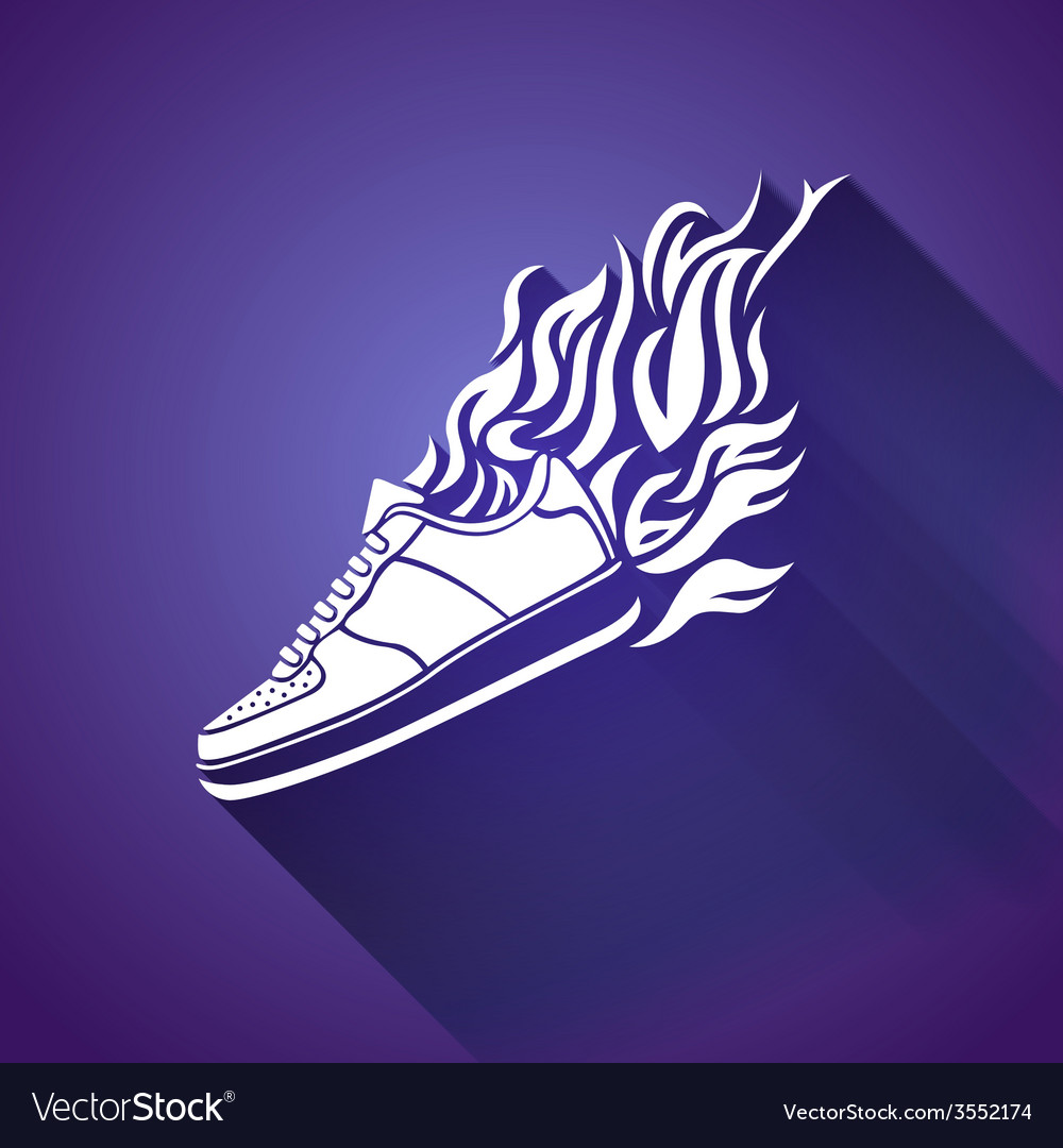 With silhouette of running shoe icon background