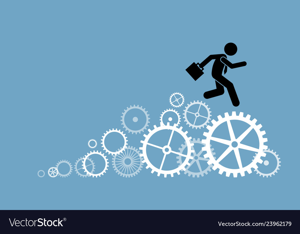 Businessman business person running on cogwheels
