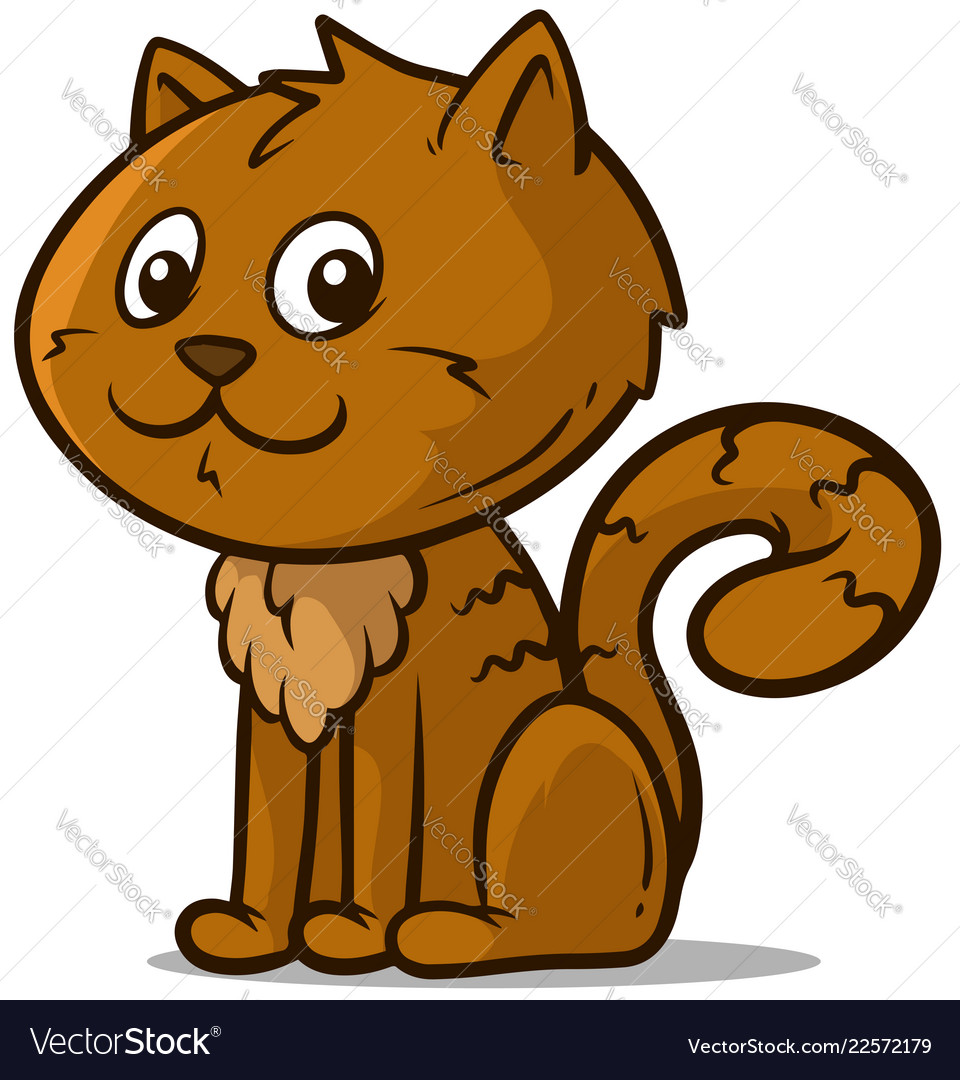 Cartoon cute sitting little brown cat icon