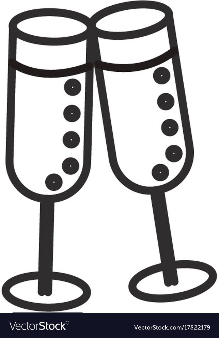 Cheerswine glasses line icon sign