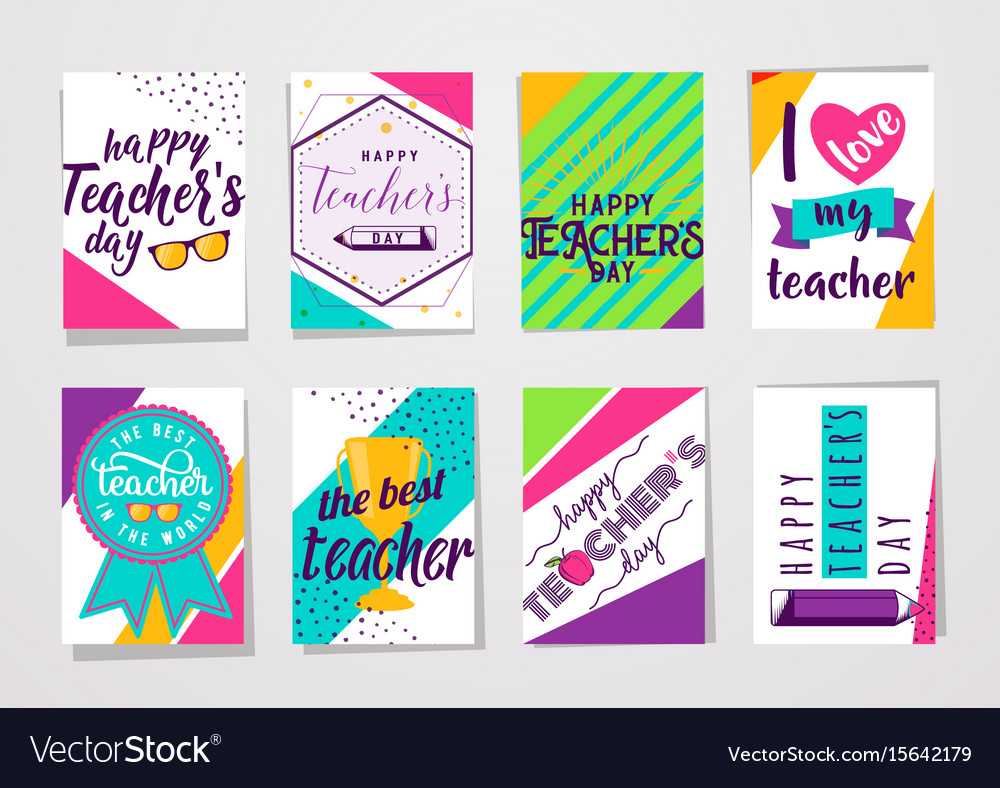 Color happy teachers day vector image