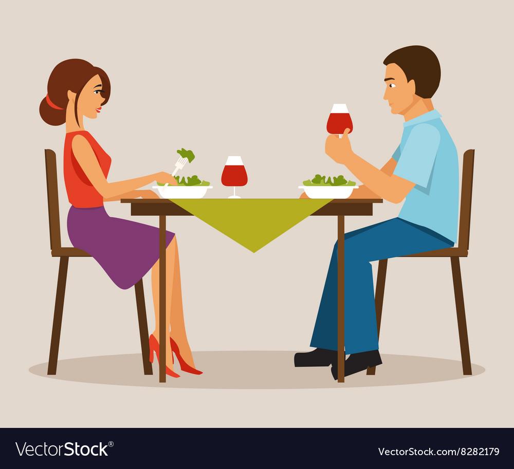 Couple having dinner vector image