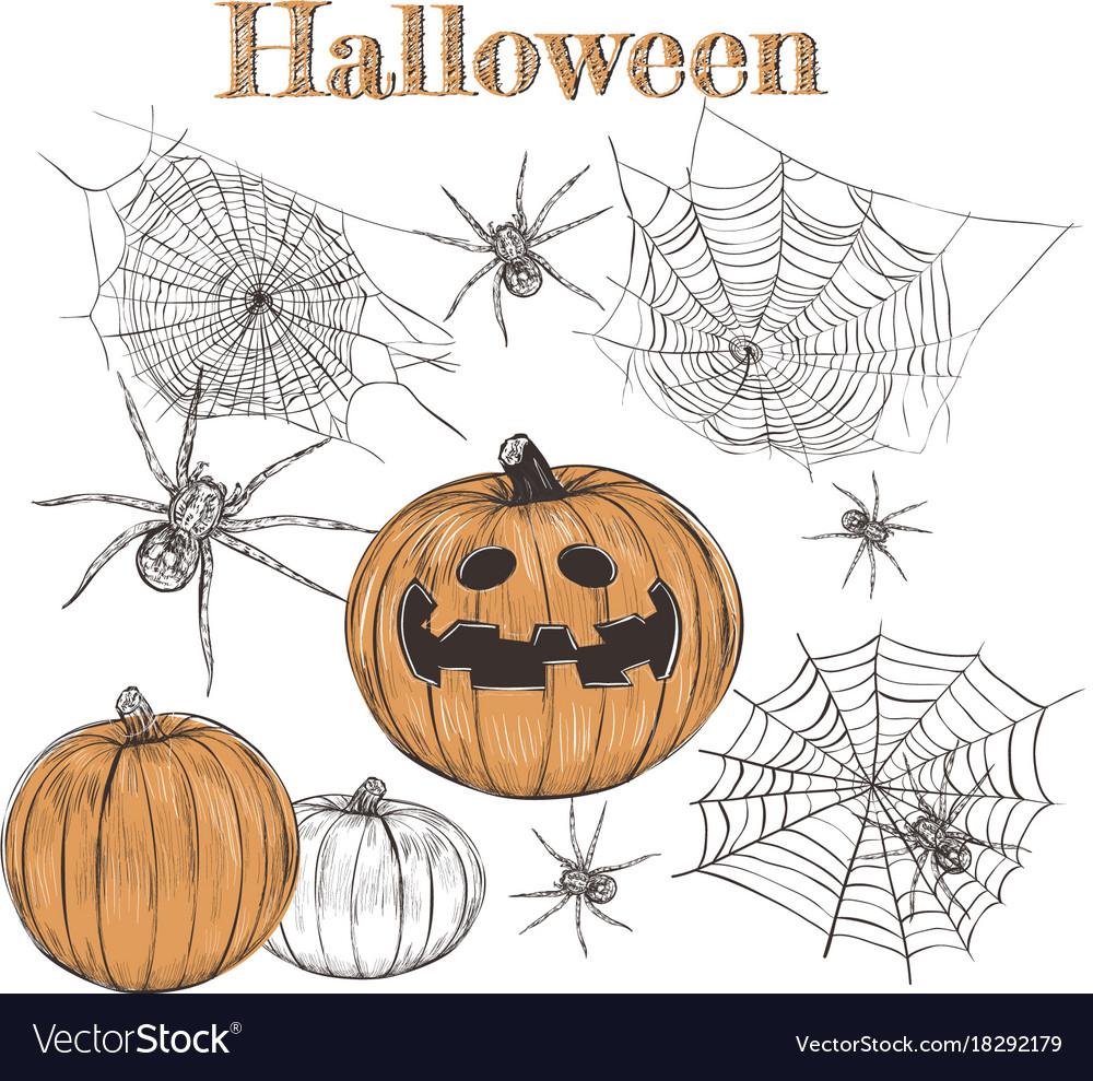 Halloween set pumpkin sketch