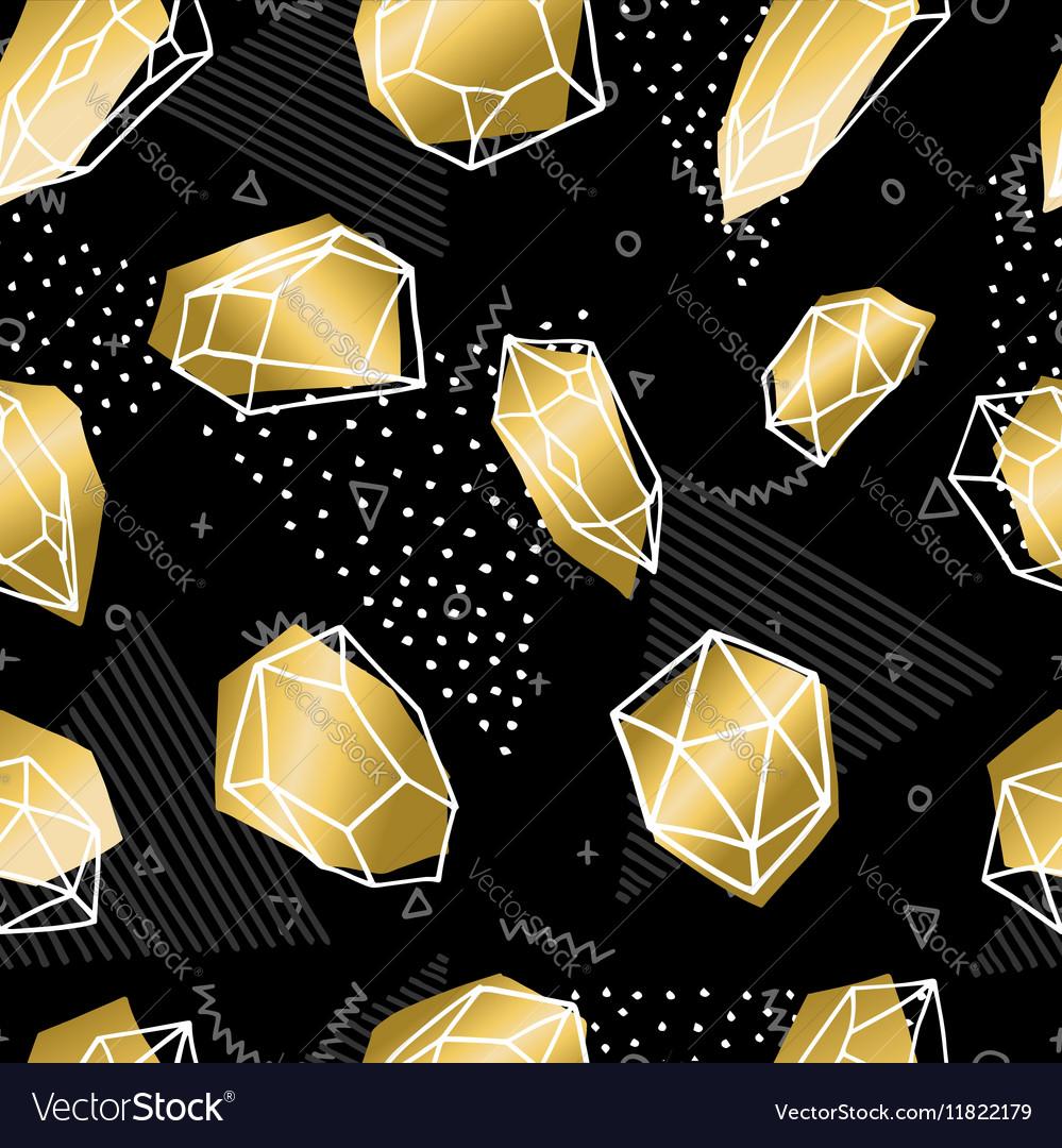 Hand drawn diamond rock seamless pattern in gold