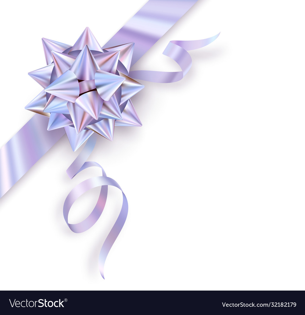 Holographic foil gift bow isolated on white