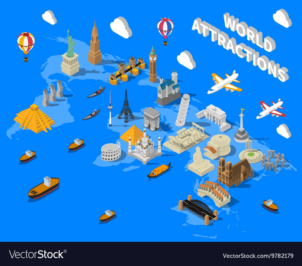Isometric world famous landmarks map poster vector image gumiabroncs Images