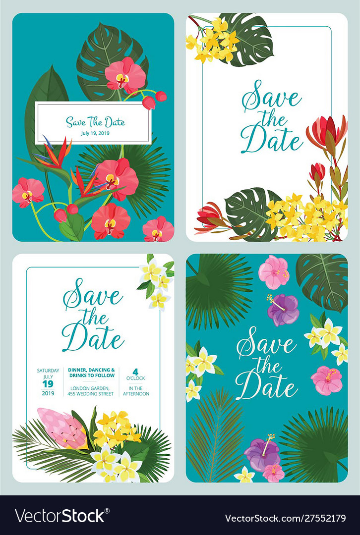 Save day invitation decorative tropical flowers