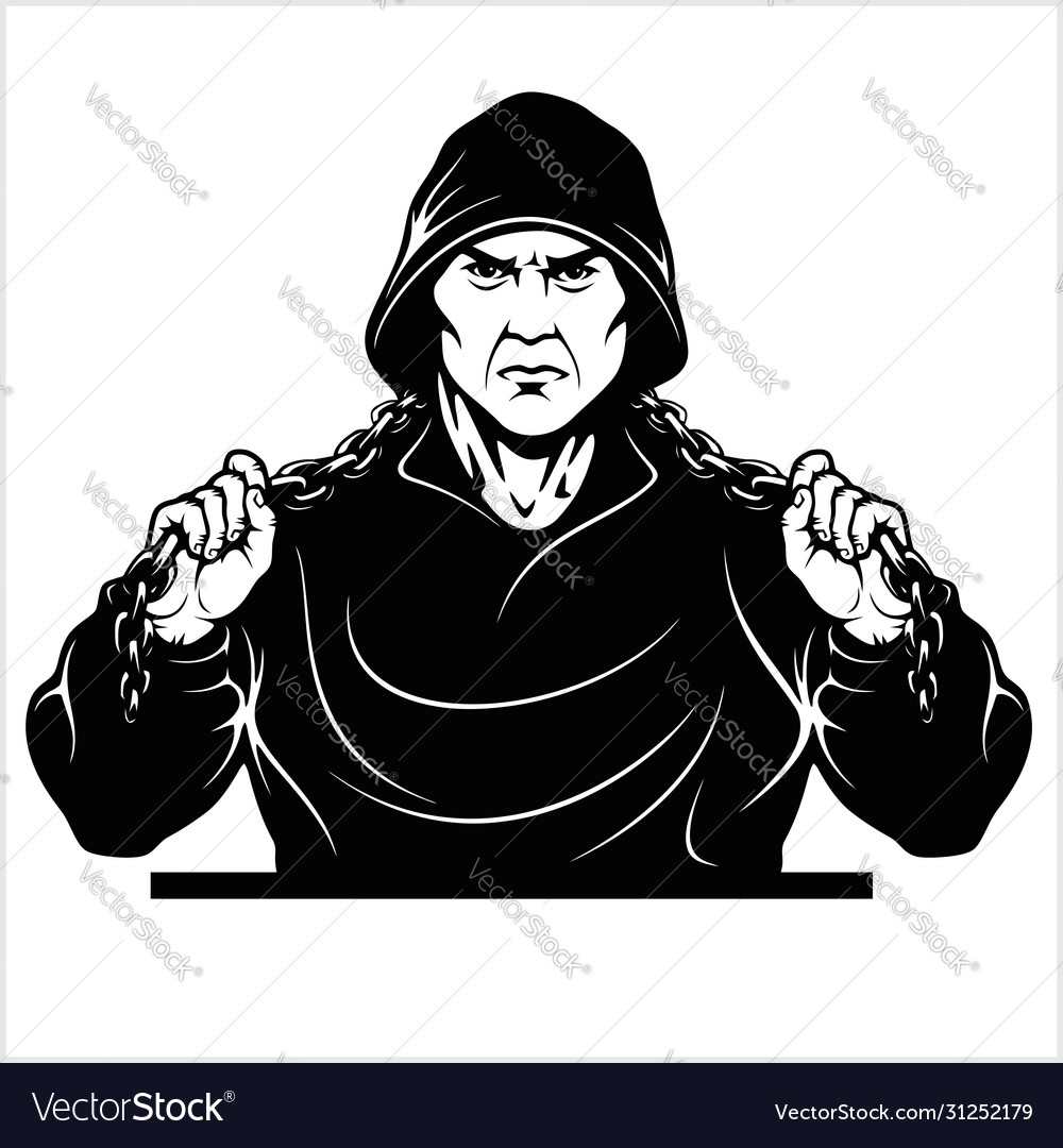 Street Fighter With A Chain Thug Ghetto Warrior Vector Image