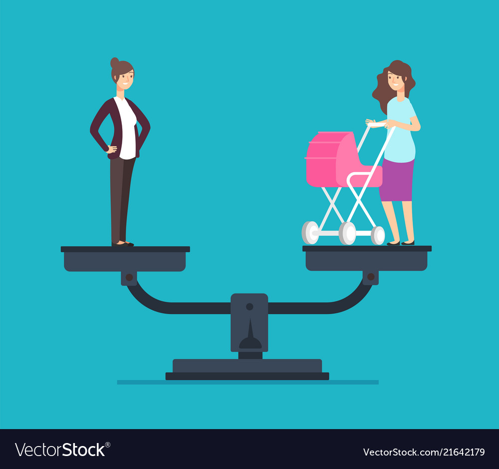 Successful woman standing on scales choosing