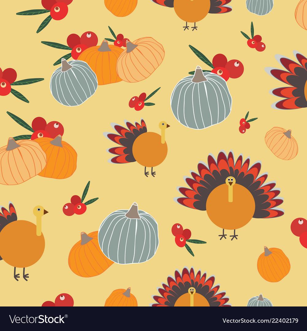 Thanksgiving pumpkins cranberries turkey seameless