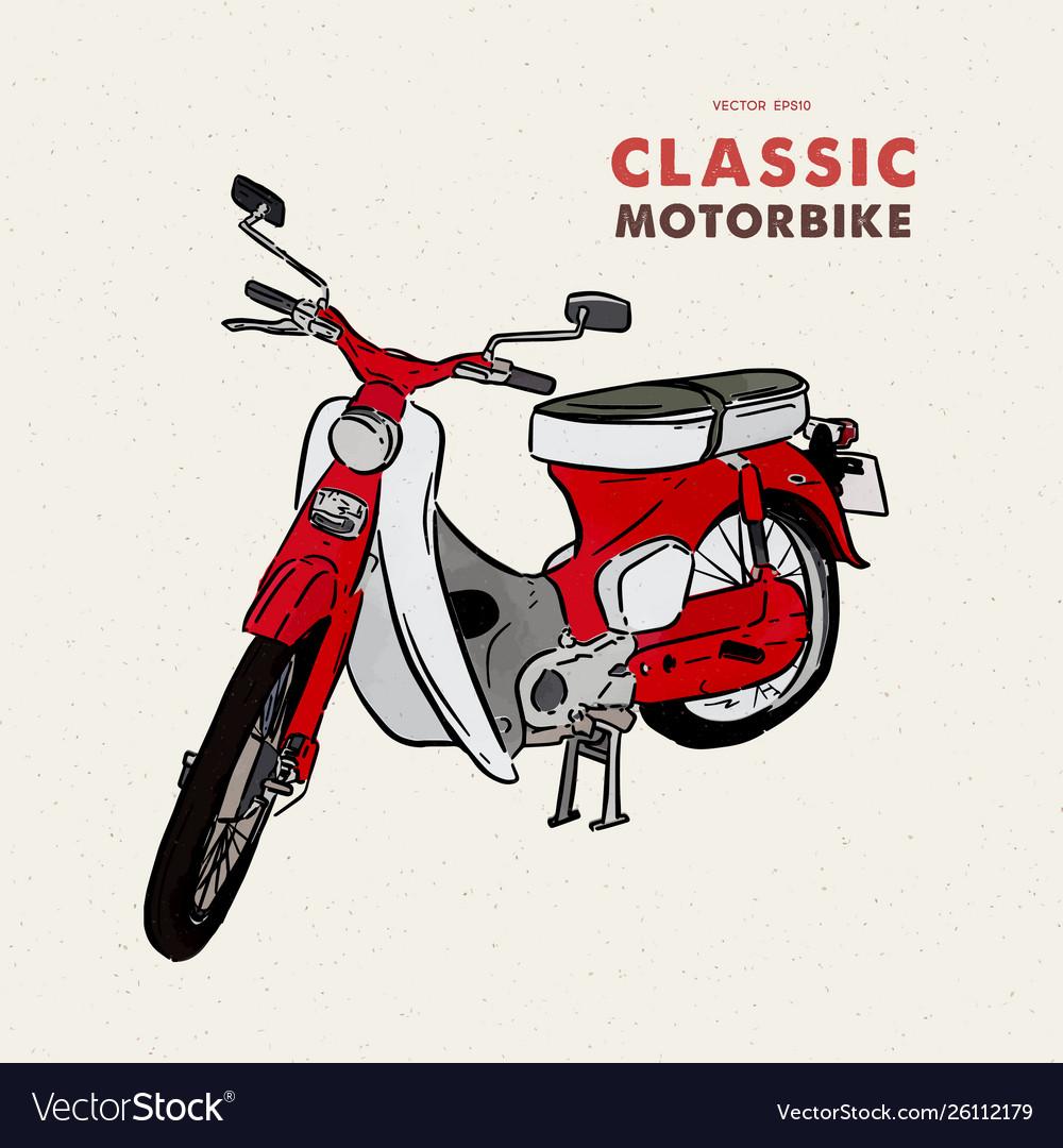 Vintage motorbike hand draw sketch