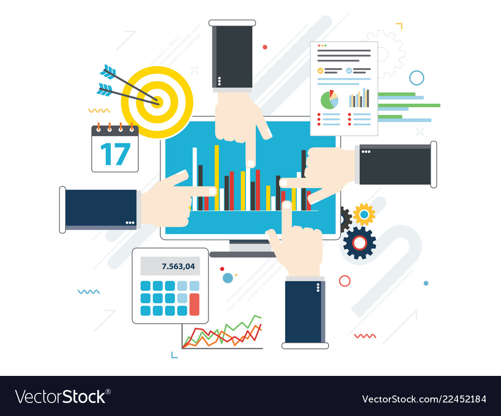 Concept of financial investment analytics with
