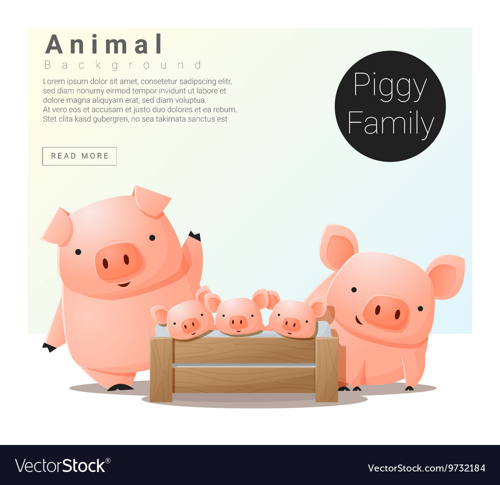 Cute animal family background with Pigs