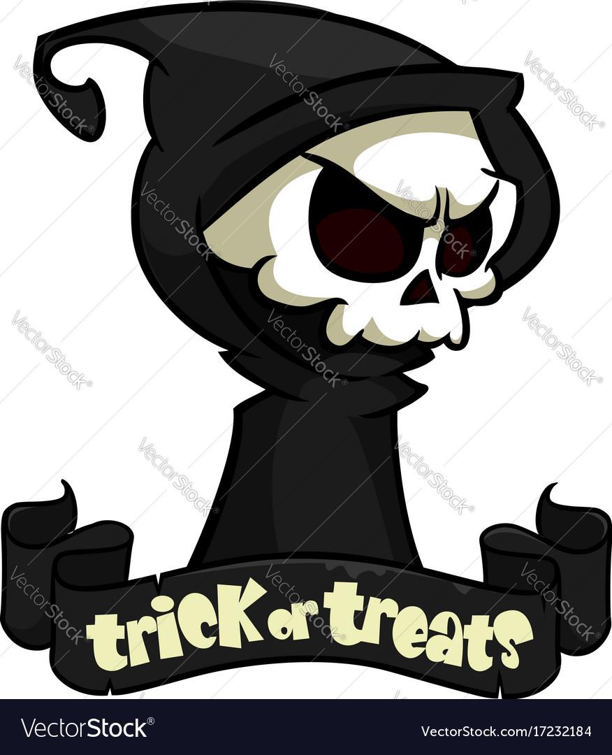 Cute cartoon grim reaper with scythe isolated