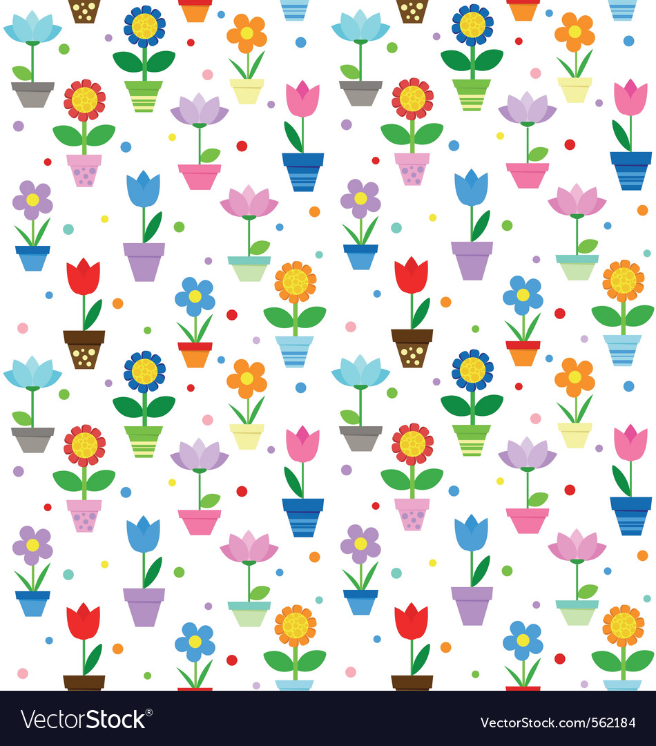 Flowers in pots pattern vector image