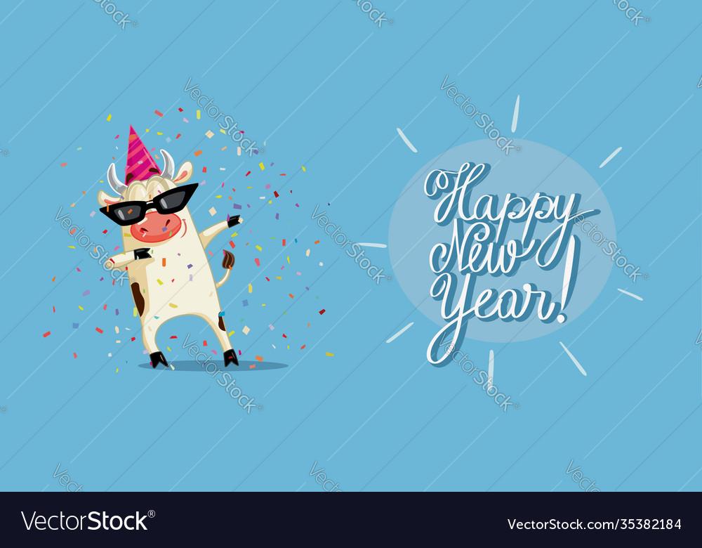 Funny party ox celebrating new year cartoon