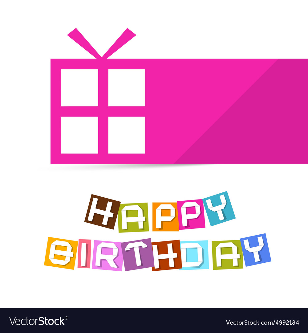 Happy Birthday Colorful Title with Pink Gift Box vector image