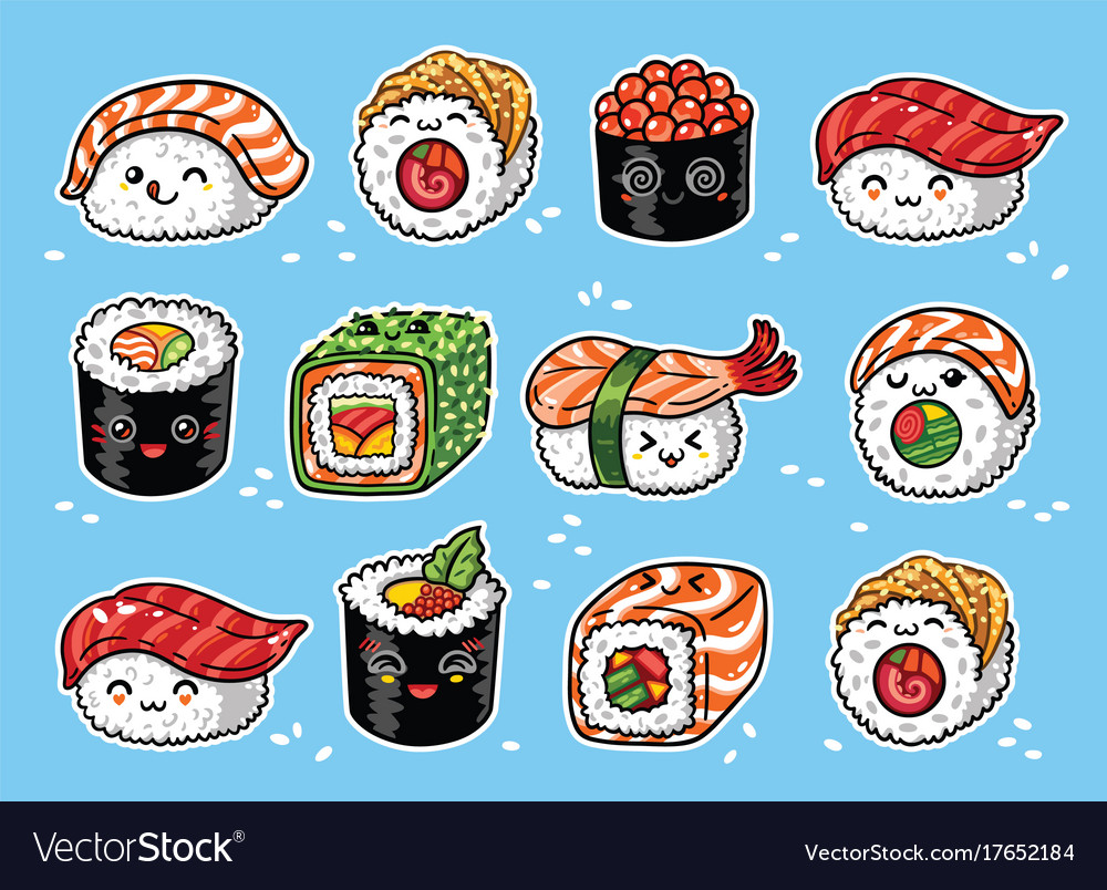Kawaii rolls and sushi manga cartoon set