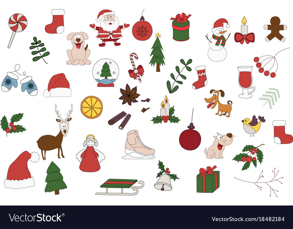 merry christmas badges patches stickers a set of vector image - Merry Christmas Stickers