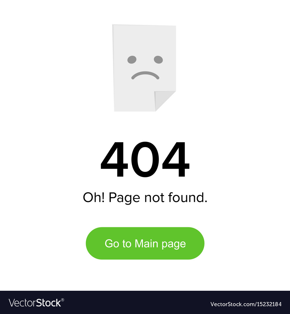 Page not found error 404 layout template with vector image