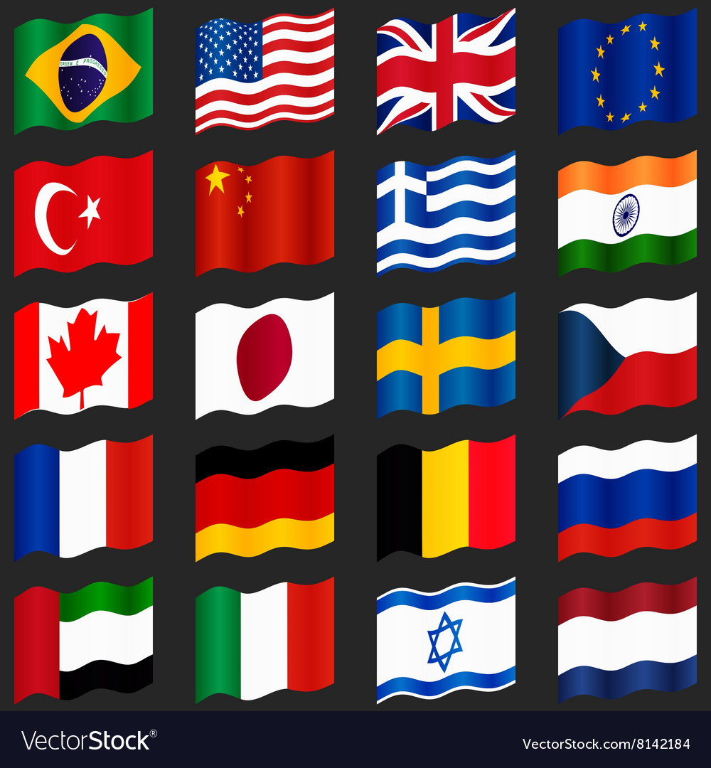 Set of popular country flags Waving flags