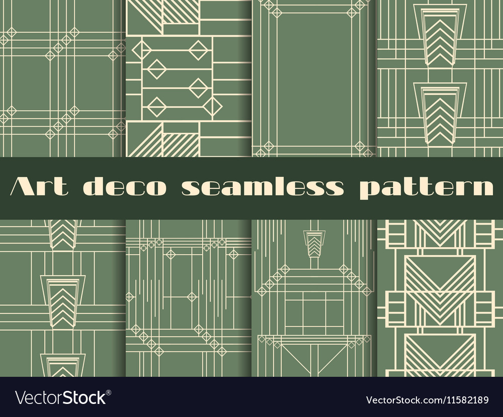 Art deco seamless patterns style 1920s 1930s vector image