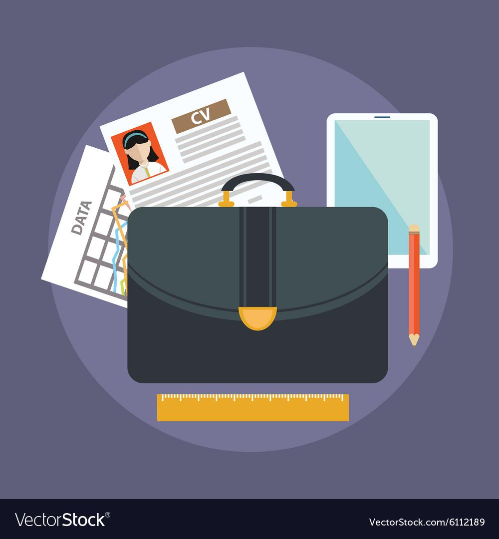 Business suitcase with paperwork portfolio concept