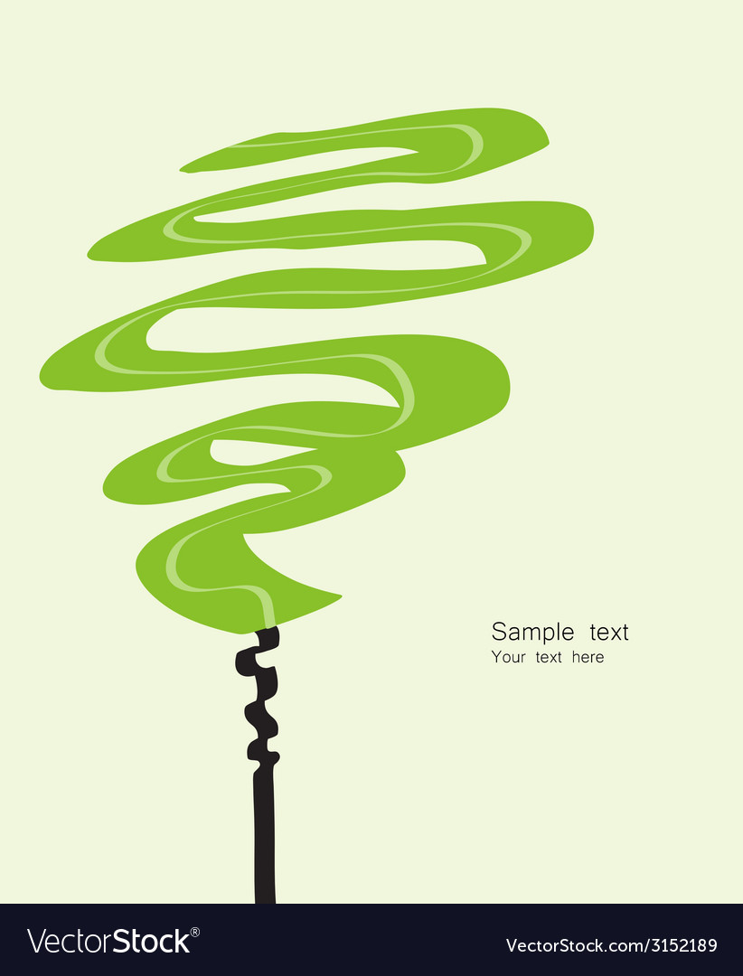 Card with abstracted stylized green tree