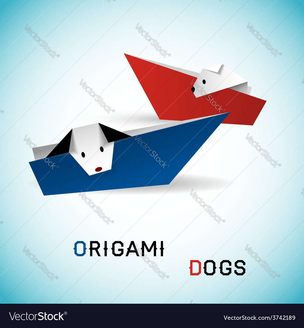 Dogs in boats origami