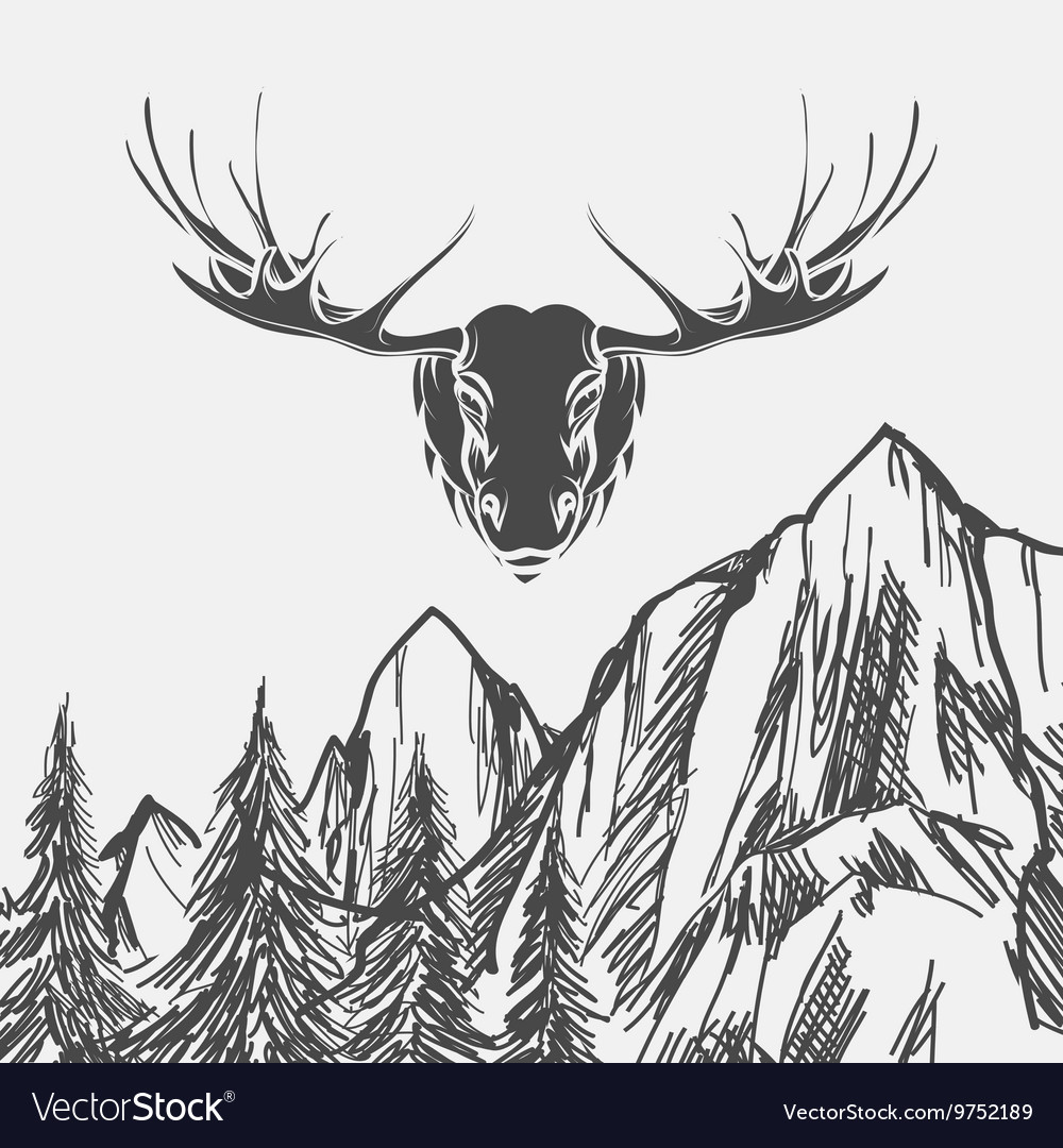 Nature background with forest and elk