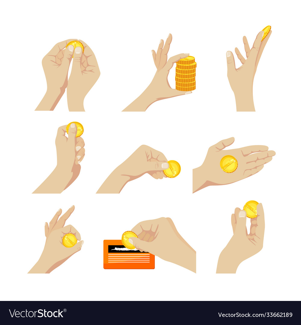 Set icons hands with coins gesturing