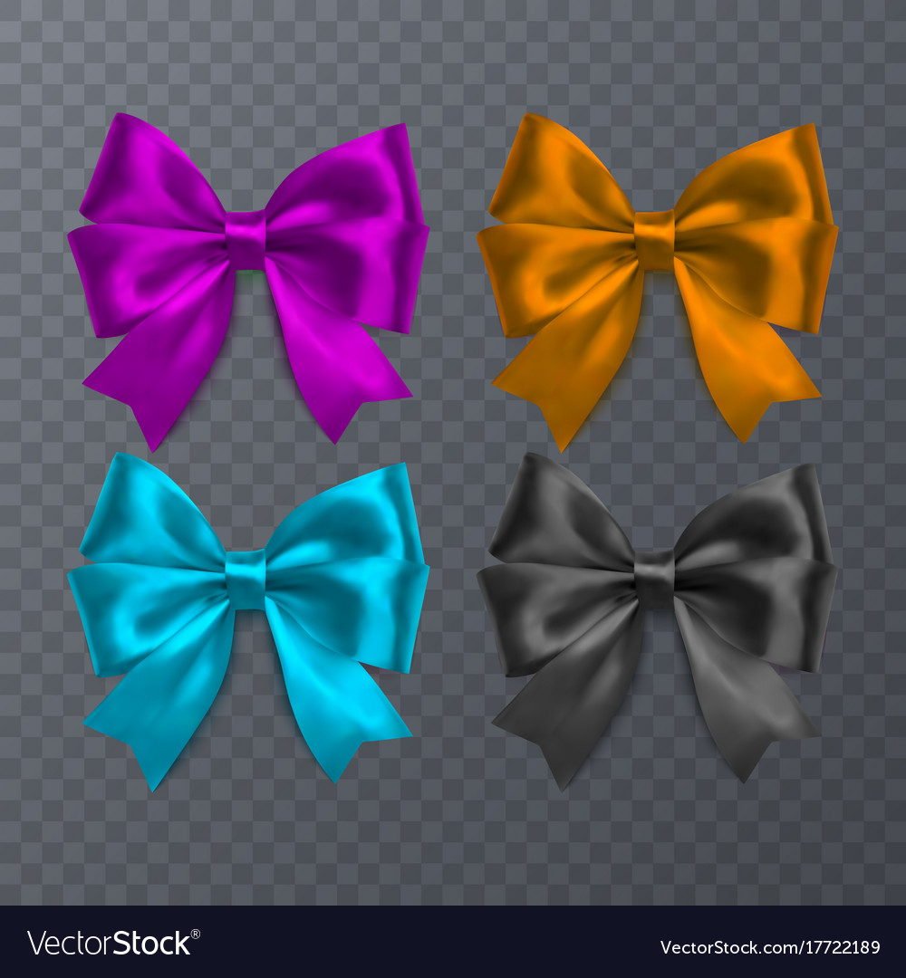 Set of realistic bow on transparent background