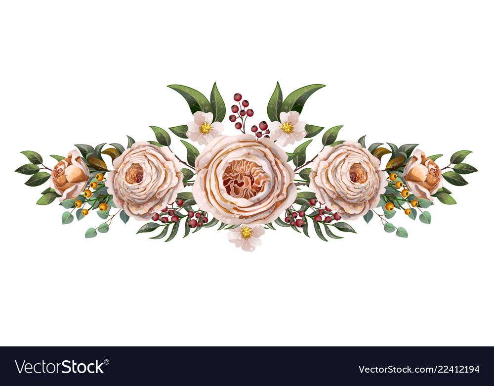 English peachy roses with other flowers bouquet