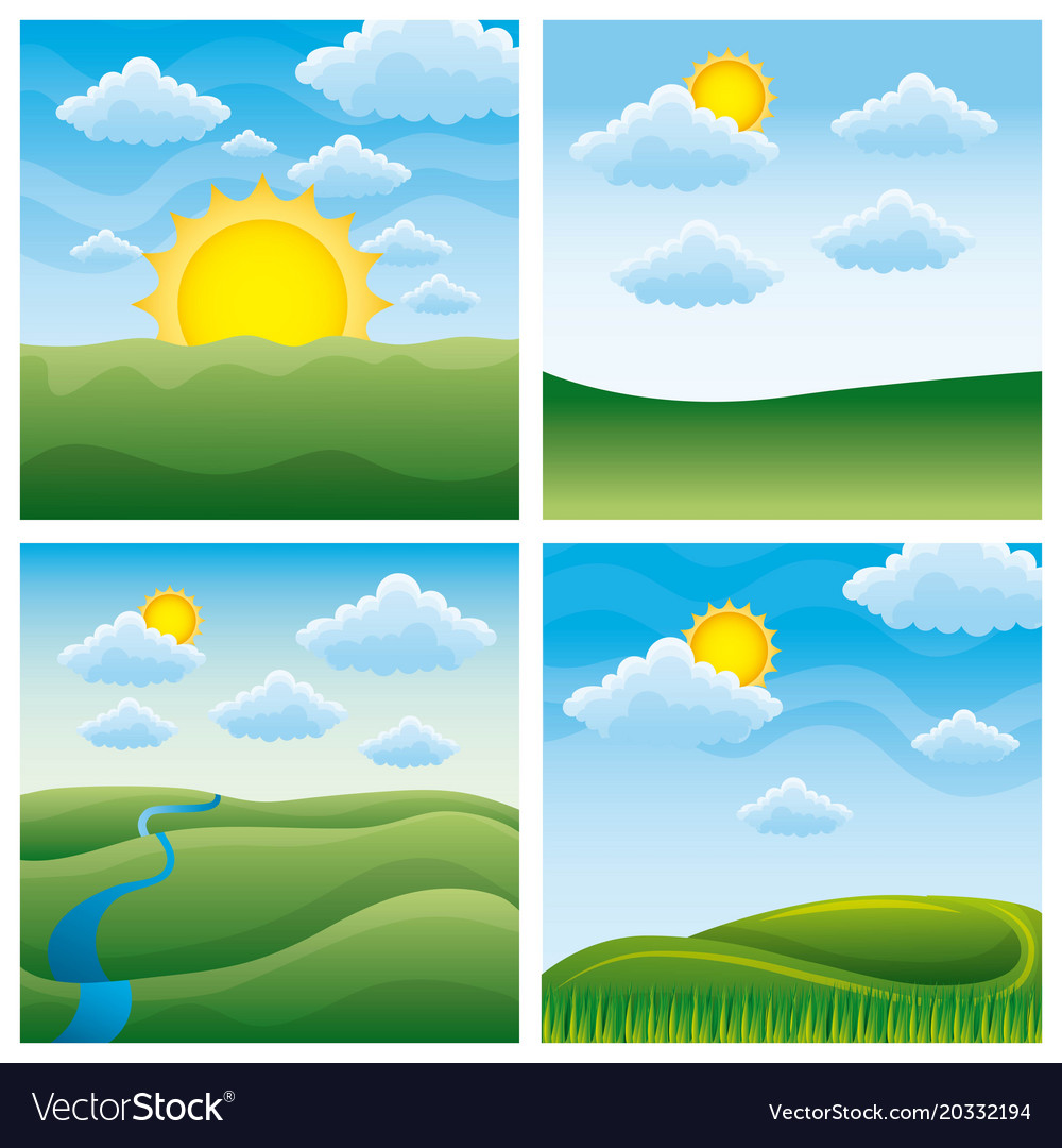 Four different beautiful scenes of nature