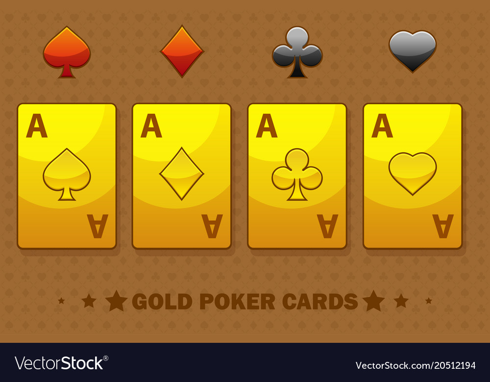 Golden four ace poker playing cards icons for