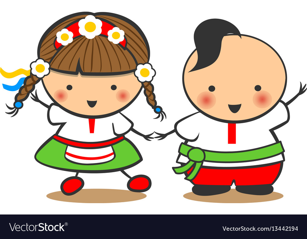 Hand-drawn boy and girl dance on a white