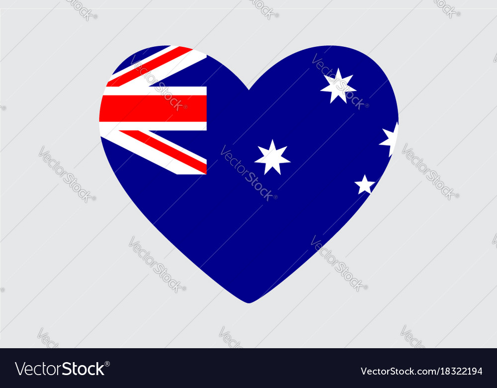 Heart In Colors And Symbols Of The Australia Flag Vector Image