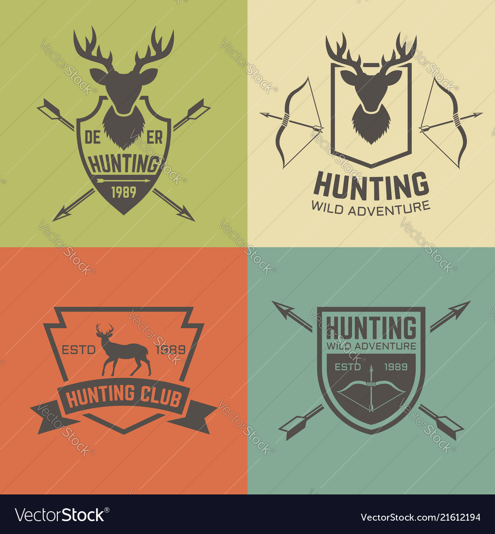 Hunting club set of vintage emblems