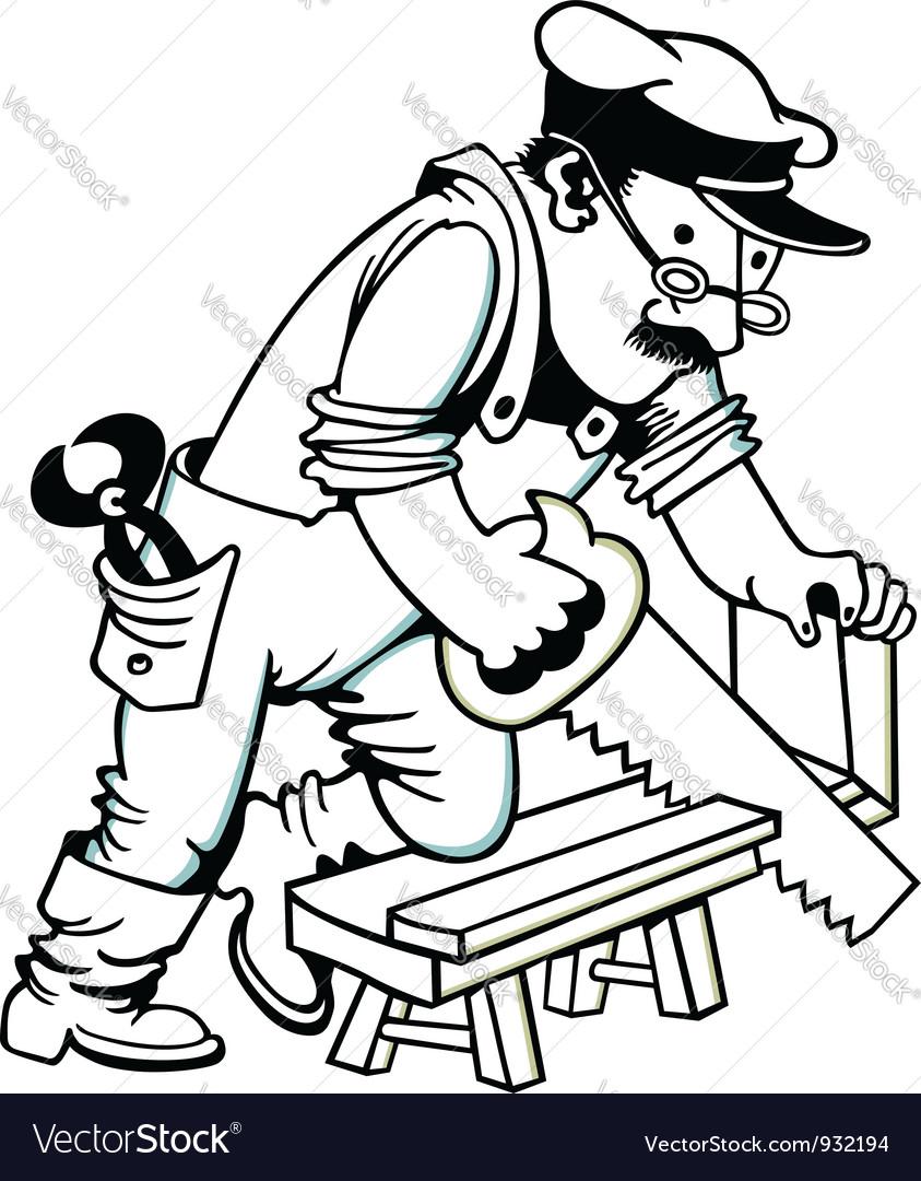 Man Sawing Wood vector image